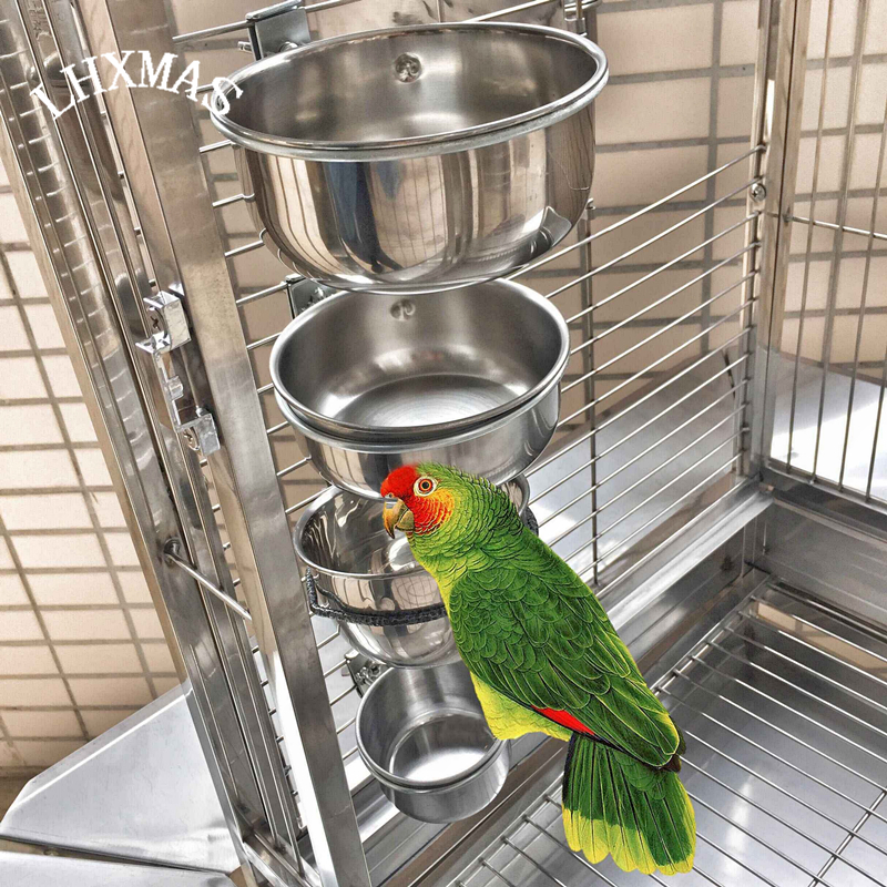 Bird feeders parrot stainless steel cups container with for Bird food holder