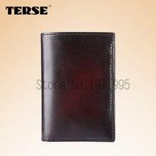 TERSE New arrival Genuine Leather Wallet Men Short Wallet Credit Card bag handmade leather purse bespoke