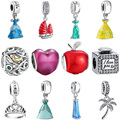 WYBEADS Silver Charm Cinderella Dress Pendant Fairy Charms European Fit Bracelets & Bangle DIY Accessories Jewelry Original