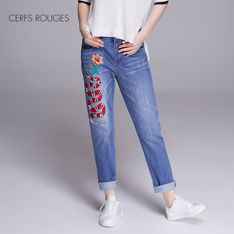 CERFS ROUGES women cotton jeans embroidery Loose casual