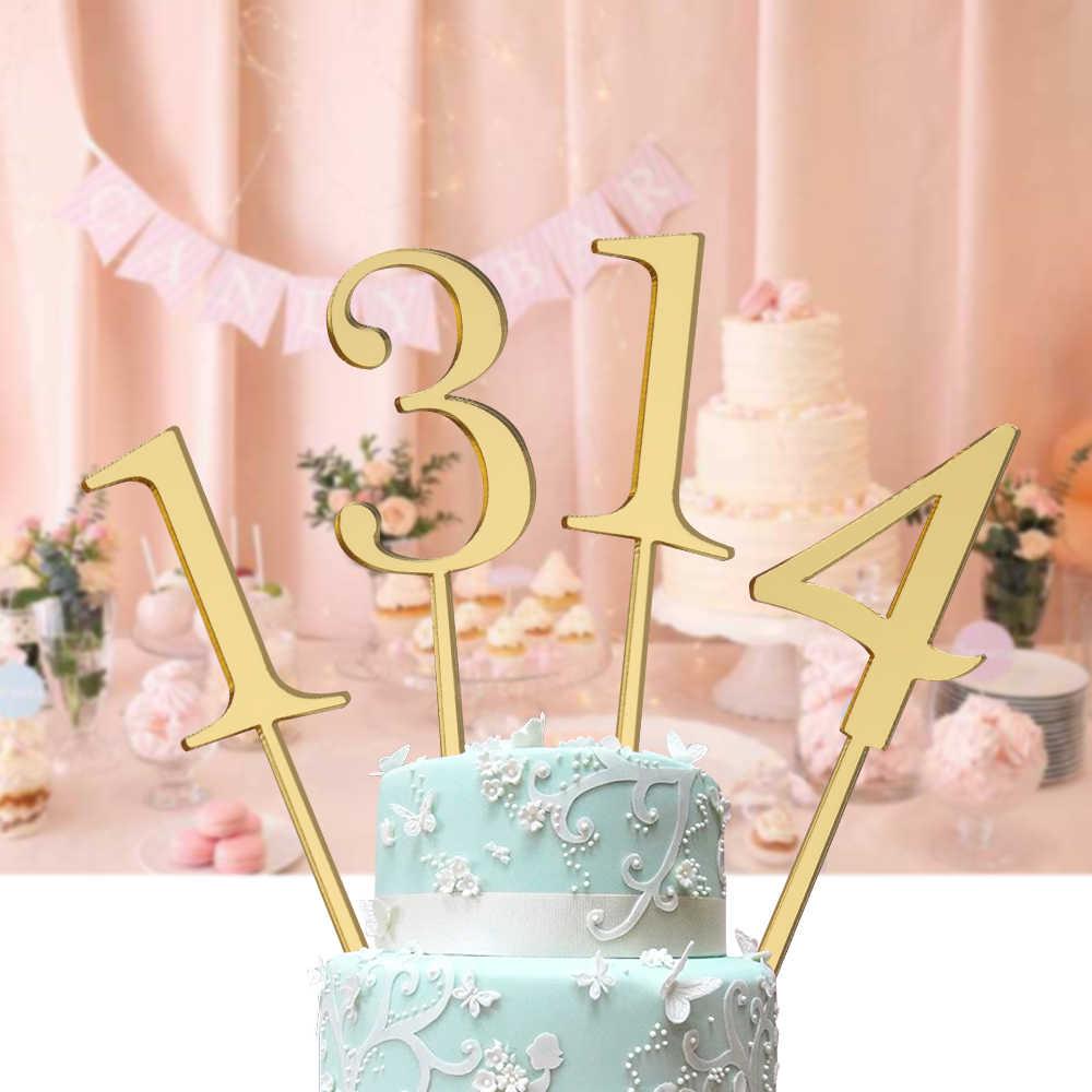 6pcs Set Gold Number 0 1 2 3 4 5 6 7 8 9 Birthday