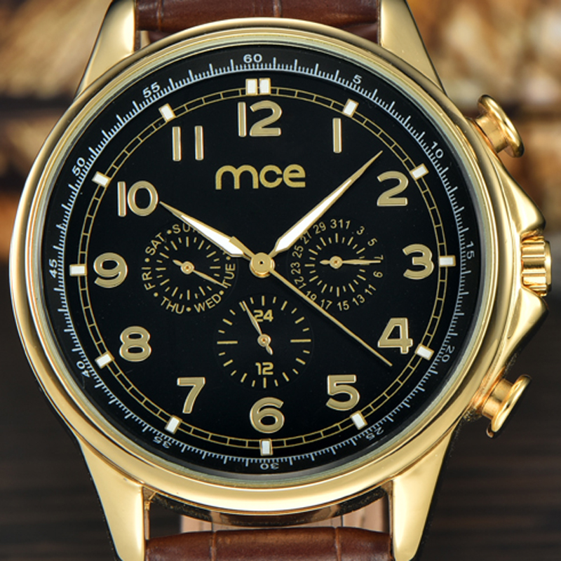 MCE Black Dial Mechnical Automatic Watch New 2017 Leather Strap Wrist Watch Men jaragar luxury gold watches with box 322 ultra luxury 2 3 5 modes german motor watch winder white color wooden black pu leater inside automatic watch winder