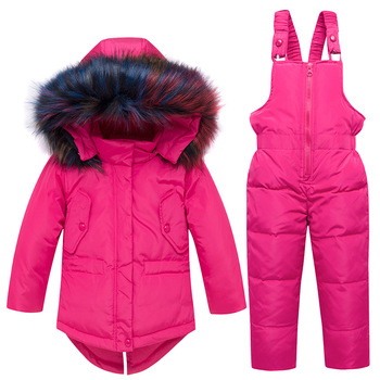 Winter Kids Snowsuit Jackets Hoodies Duck Down Ski Suit For Girls Snow Suit Outfits Snow Wear Jumpsuit Sets Coat Snowsuit baby snowsuit winter jumpsuit newborns snow wear clothes down fur jacket kids girls coats infant rompers for boy parka overalls