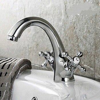 Bathroom Faucet Chrome Double Cross Handles Bathroom Basin Faucets Deck Mount Bathbasin Vanity Mixer Taps znf271
