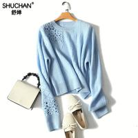 Shuchan New Knitted Sweater Women 100% Cashmere Jumper Female Autumn Long Sleeve Plus Size Hollow Out Knitted Sweater Tops