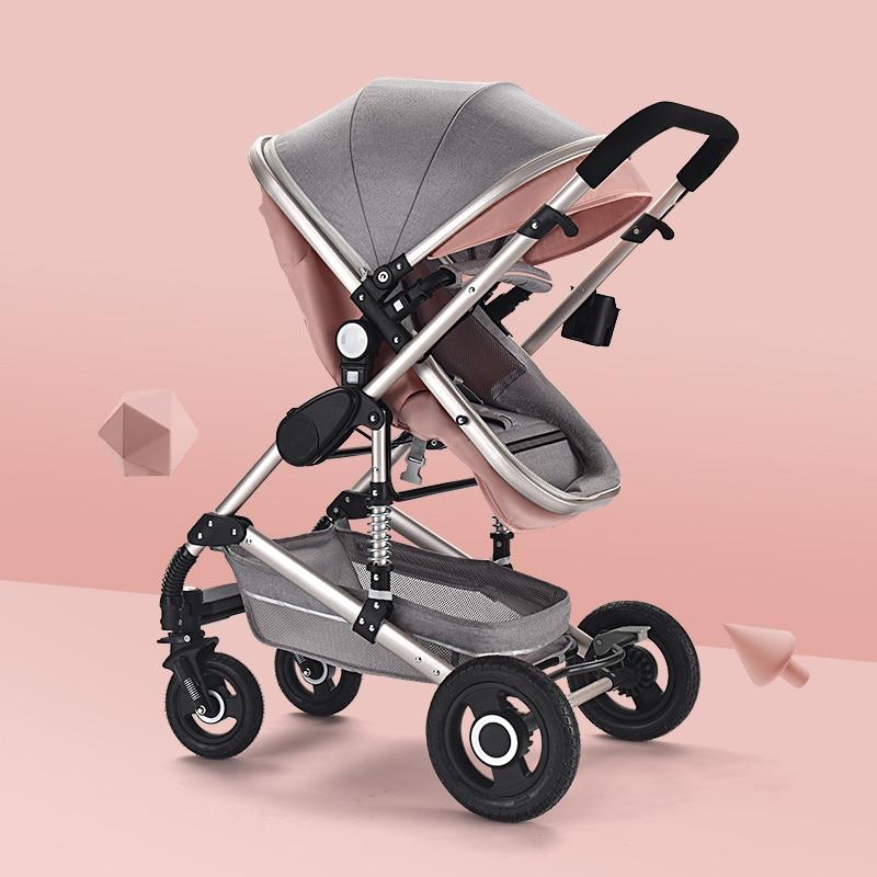 Bébé poussette lumière haute paysage quatre roues inclinable chariot pliant bébé poussette nouveau-né poussette infantile landau