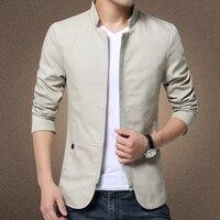 Новая мужская куртка в британском стиле, хлопковая однотонная повседневная куртка, мужская приталенная куртка-стойка, Мужская модная ветро...
