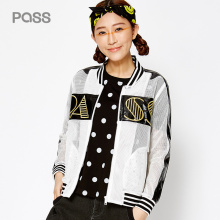 PASS 2017 New Arrival Women Spring Coat Fashion Hollow Out Net Patchwork Long Sleeve Jacket Female Letter Embroidery Short Coat