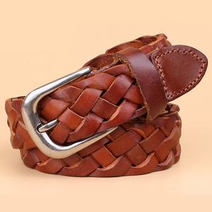 Image 2 - hot fashion luxury designer Weaving belt women high quality full grain real genuine leather girdle breathable belt for jeans