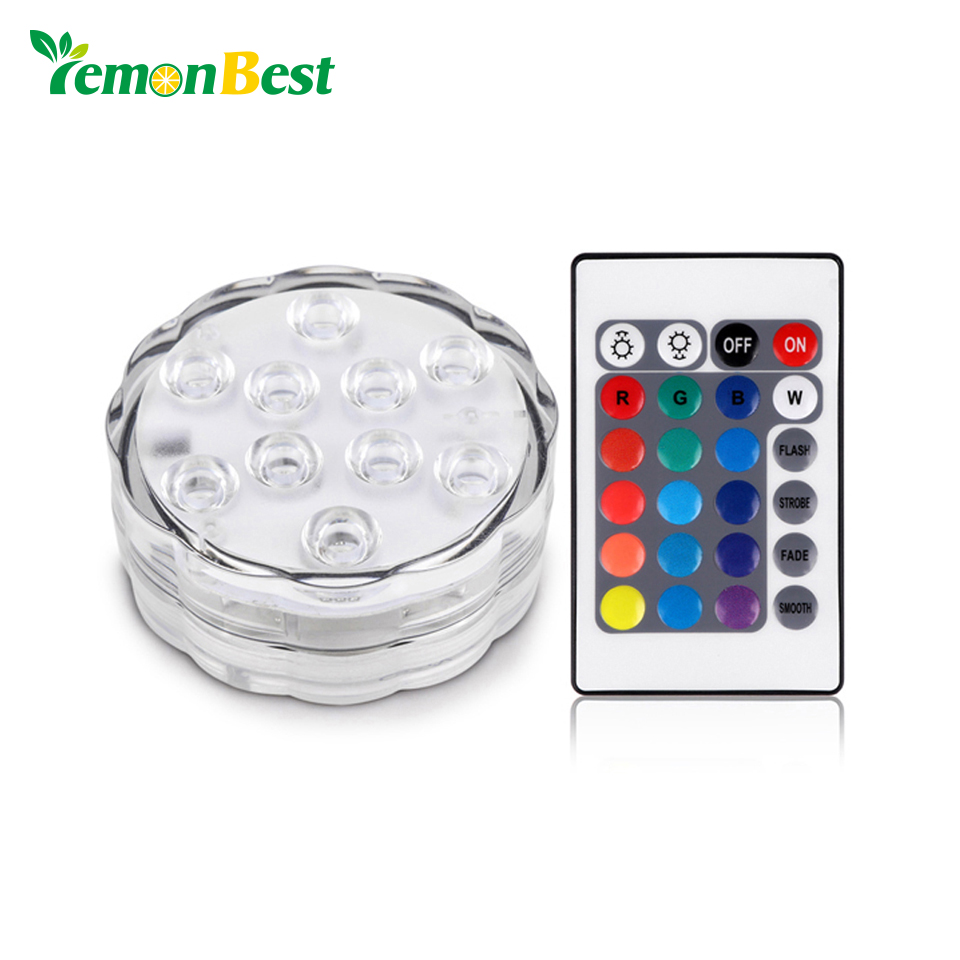 Led Underwater Lights 10 Led Rgb Battery Operated Submersible Light Ip68 Waterproof Underwater Swimming Pool Wedding Party Piscina Pond Lighting