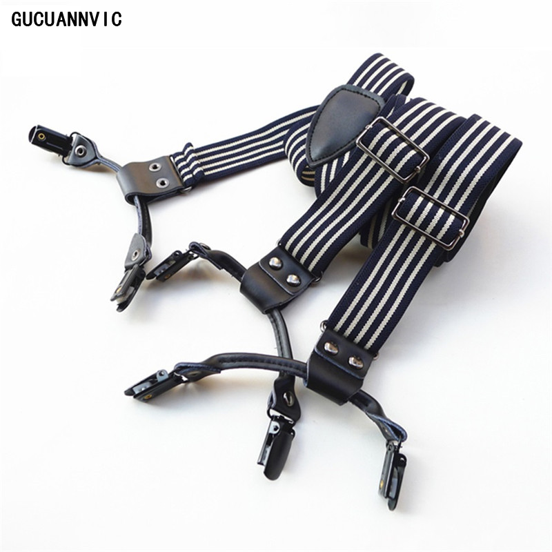 1PCS Retro Classic Vintage Striped Suspenders and Clips for Kids Male and Female