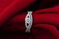 Белое золото покрытием 1ct круглой огранки NSCD кольцо группы моделирование ювелирные изделия с алмазами обручальное свадебное кольцо кольца