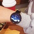 Fantástico Mulheres Dama Mujer Relógio Ocasional Relógio de Pulso Casal Noite Tranquila de Couro Super Macio Moda Quartz Assista Relojs Relógio de Presente