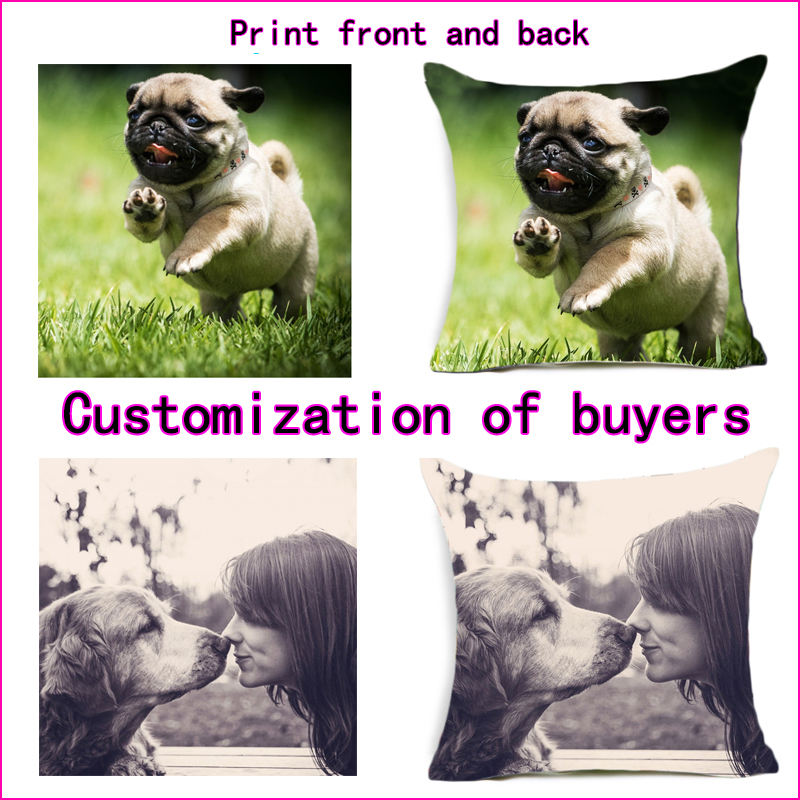 Both sides printing Pillow cover Fahion Design Picture here Print pillowcase Pets, etc. photos customize gift home cushion
