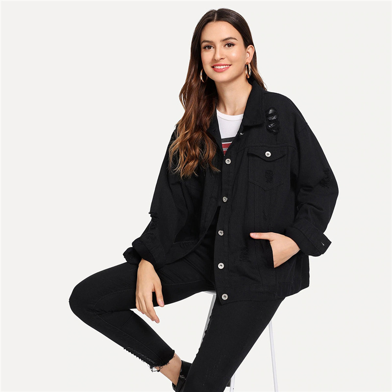 COLROVIE Ripped Drop Shoulder Women Denim Jackets Black White Oversize Purple Casual Female Jacket Coat Chic Jacket for Girls 16