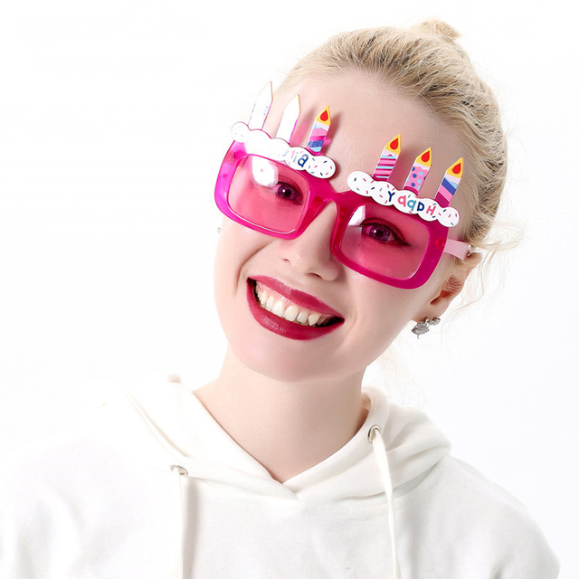 6f20492a6e Hot Happy Birthday Gift Glasses Adult and Children Cake Candle Sunglasses  Funny Toy Birthday Party Spectacles Pink Lens UV400 L2