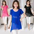 Women shirts blouses 2016 New Summer Sleeveless Woman Casual Chiffon Kimono Plus Size Tops Tunic Blusa Black,Pink,Blue M~3XL,4XL