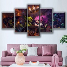 For Living Room Wall Art Home Decor Canvas Printed Poster 5 Pieces Hearthstone Painting Cartoon Game Pictures Modular Frameworks
