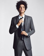 Custom Made Groom Tuxedo Dark Grey Groomsmen Notch Lapel Wedding/Dinner Suits Best Man Bridegroom (Jacket+Pants+Tie+Vest)B412