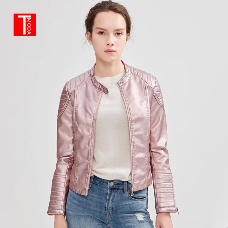 2018 Autumn Winter Women Faux Leather Jackets and Coats Lady Pu Motorcycle Shining Pink Zipper Coat Streetwear Biker Outerwear