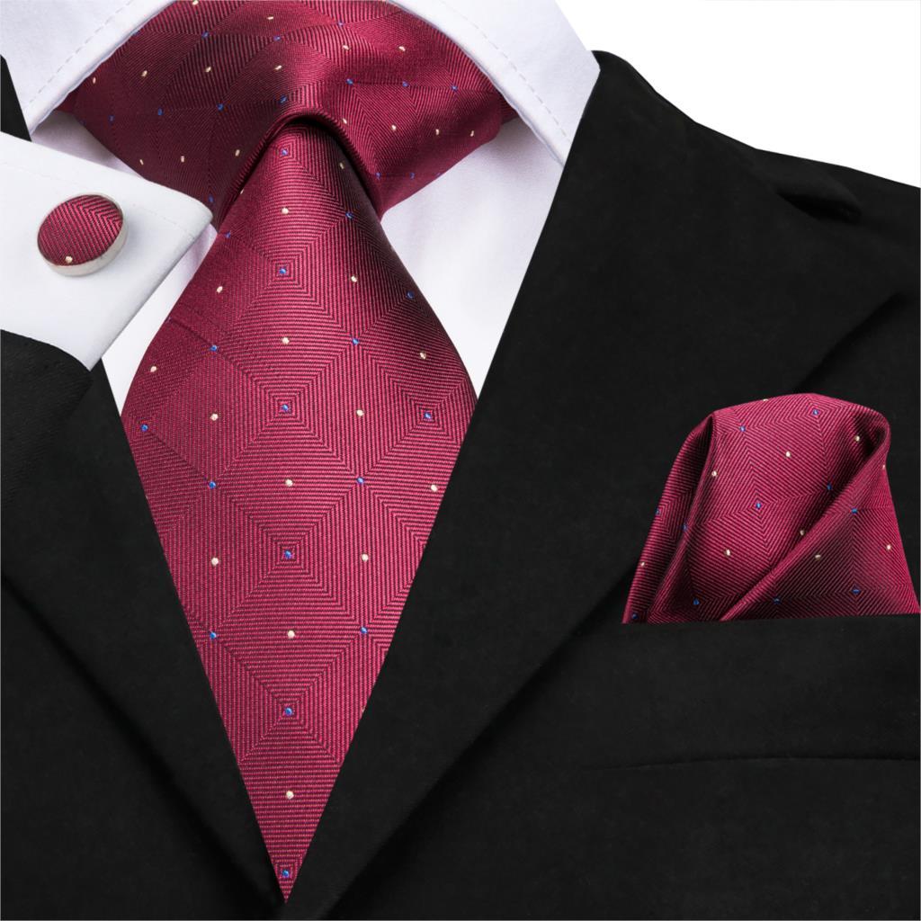 SN-3172 New Luxury Red Tie 8.5cm Silk Jacquard Woven Men Wine Red Necktie Hanky Cufflinks Set Wedding Classic Pocket Square Tie