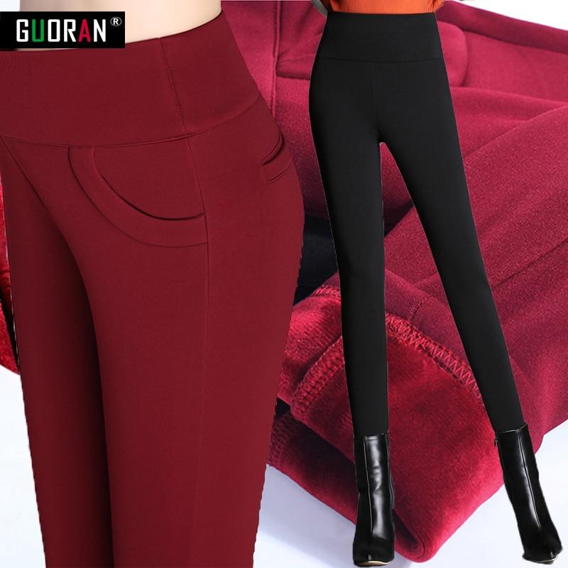Hot sale 2016 women   pants   of the large size women stretch pencil   pants   plus warm   pants     capris   feet plus size 5XL trousers women