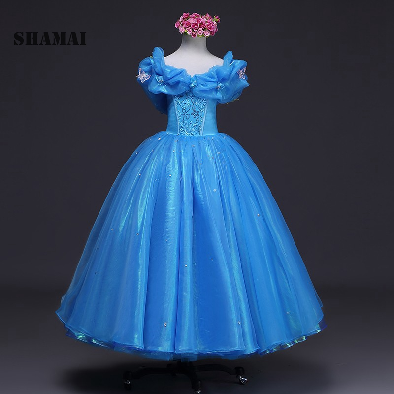 SHAMAI SHAMAI 2018 NEW Blue Butterfly cospaly Cinderella   dress   Custom Made   Flower     Girl     Dresses   Kids   Girl   Birthday Ball Gown