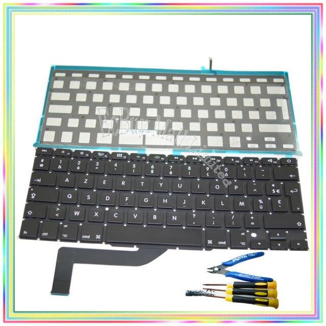 Новый FR AZERTY Французский Франция Клавиатура с Подсветкой и клавиатура винты и отвертка для Macbook Retina A1398
