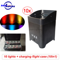 Wireless DMX Battery Power RGBWA UV 6 IN 1 LED Par Can light with Wifi & Remote for Wedding uplights