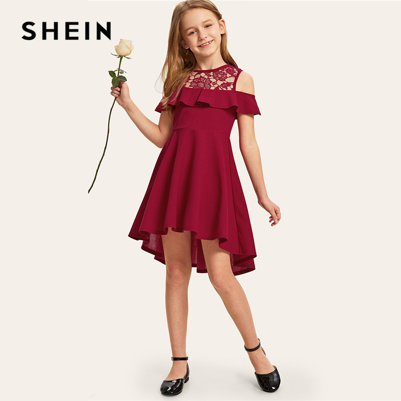 SHEIN Kiddie Guipure Lace Cold Shoulder Ruffle Hem Girls Party Dress 2019 Summer Cap Sleeve Cute A Line Flared Dresses For Kids plus size bell sleeve mini lace dress with flounce hem
