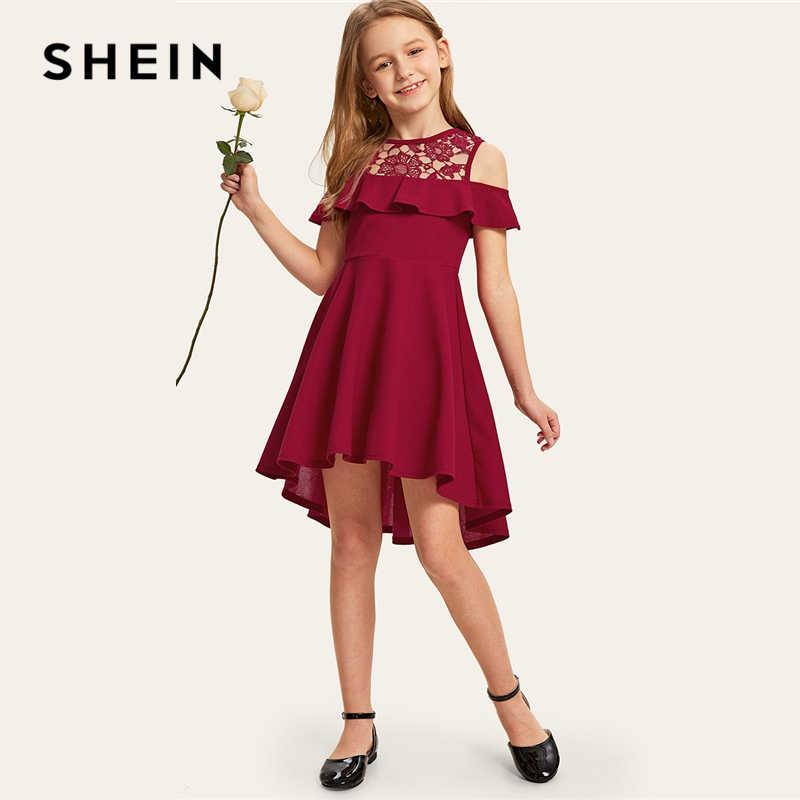 SHEIN Kiddie Guipure Ren Lạnh Vai Ren Viền Bé Gái Đầm Dự Tiệc Mùa Hè 2019 Bộ Đội Nữ Tay Dễ Thương MỘT Dòng Bùng Lên Áo dành cho Trẻ Em