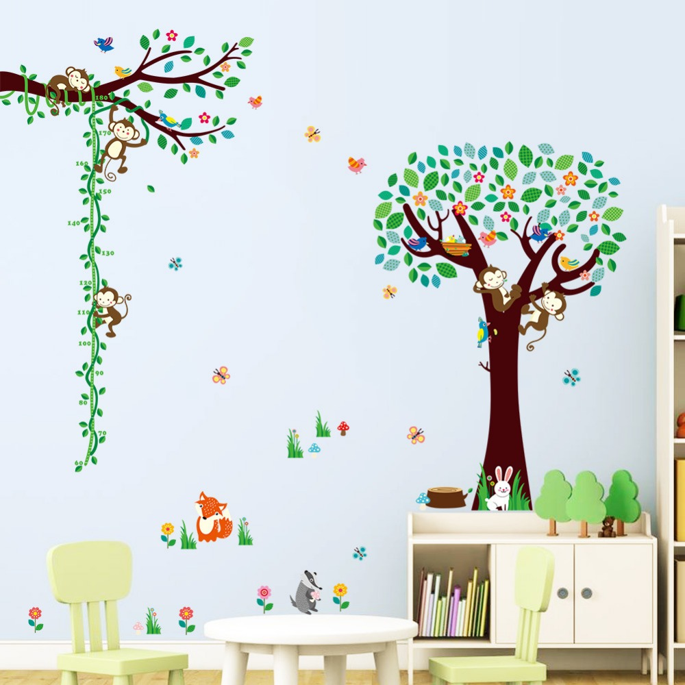Cartoon Trees Curtains For Kids Boys Bedroom Blinds Linen: 3D Cartoon Monkey Bird Rabbit Tree Branch Flowers Wall