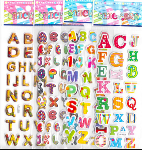 20pcs cartoon letters ABC 3D foam stickers children preschool kids reward party supplies decorations favor award gift boys girls