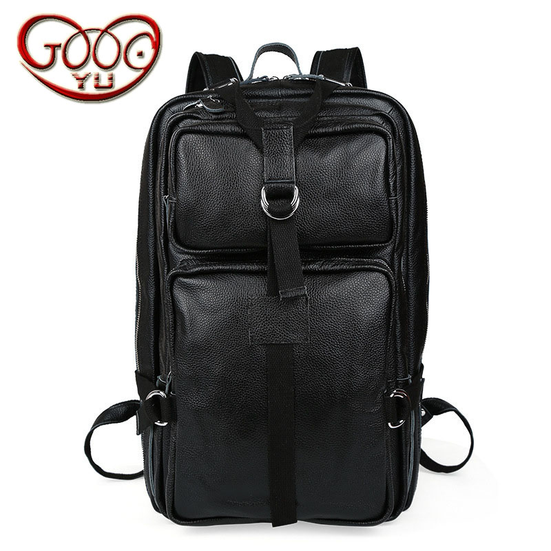 Men and women black mountaineering bag large capacity real leather fashion shoulder bag vertical section square solid color trav