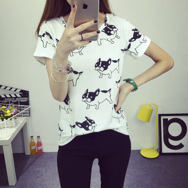 Women's Clothing Fashion Style Streetwear Chiffon Tops Designer Fashion Brand Spring Women Blouses Turn-down Collar Shirts French Bulldog Blusa Vetement Femme
