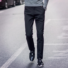 Spring Summer Skinny Fashion Mens Dress Pants Formal Western-Style Suit Trousers Commercial Slim Straight Costume Pantalon Homme