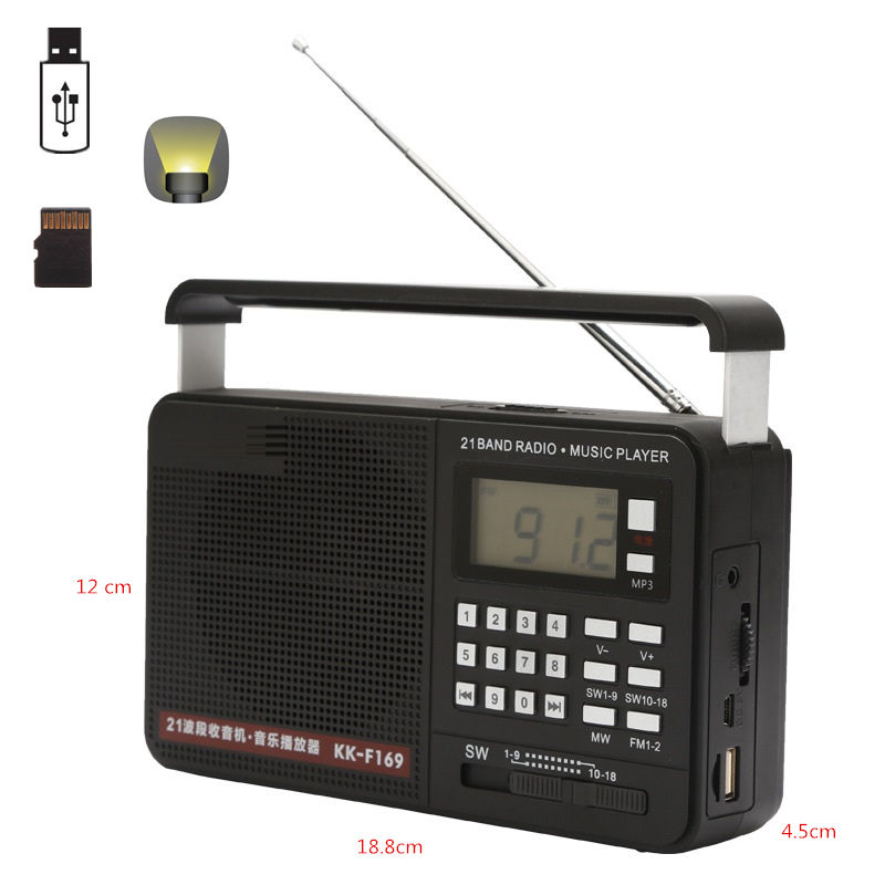 Rechargeable Portable <font><b>21</b></font> <font><b>Bands</b></font> <font><b>Radio</b></font> Receiver Fm/AM/SW1-18 <font><b>Radio</b></font> Tabletop <font><b>Radio</b></font> Music Player Support USB Disk SD Card MP3 Files image