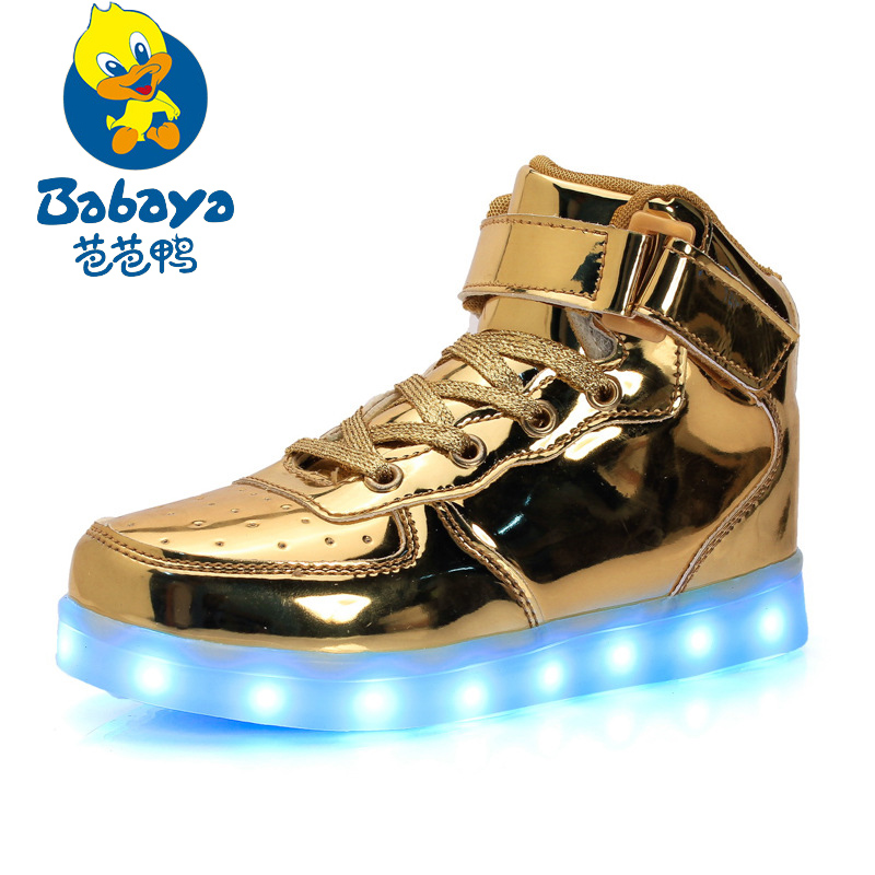 Babaya Children USB Charging Colorful Led Light Shoes Patent Leather Led Luminous Girls Sneakers Boys Sports Shoes Glowing Shoes 2016 spring new arrival children led light shoes boys and girls breathable shoes kids usb charging flash colorful luminous shoes