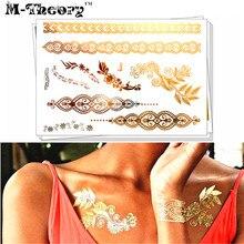 M-Theory Metallic Gold Choker Makeup Temporary 3D Tattoos Body Arts Jewelry Flash Tatoos Sticker 21x15cm Swimsuit Makeup Tools