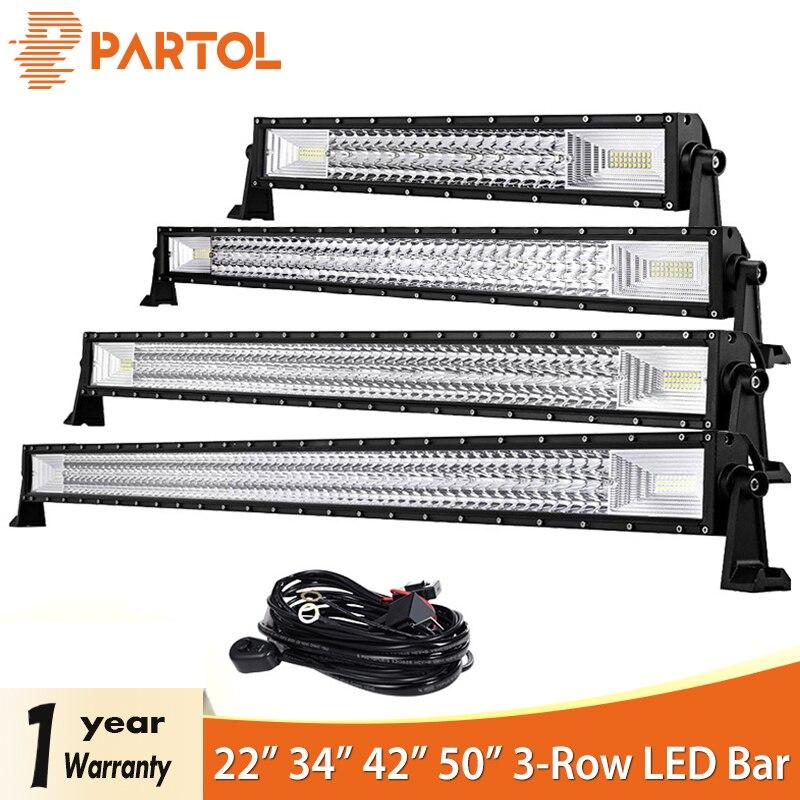 Partol 22 34 42 50 прямой изогнутый трехрядсветодио дный ный светодиодный световой бар комбинированный луч внедорожный рабочий свет 4WD светодио ...