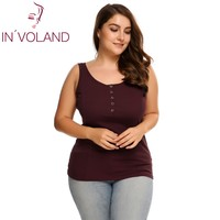 IN VOLAND Women S Casual Tank Tops Summer Plus Size Sleeveless Scoop Neck Slim Button Front