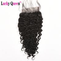 Brazilian Deep Wave Closure Human Hair Lace Closure with Baby Hair 4x4 Free Part Non Remy Hair Lucky Queen Hair Products