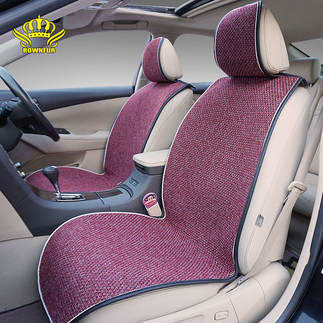 ROWNFUR New Automobiles Seat Covers Universal Cars Truck Driver Cushion Flax Mats Protect Car