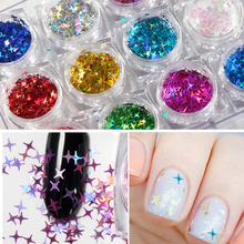 12jar/set Cross Star Glittes Holo Four Angle Star Nail Glitter Mixes Nail Sequins Holographic Glitter Nail Art Decorations DIY four angle stars shape nail glitter sequins for nail art decoration makeup facepainting nail gel manual diy crafts decoration