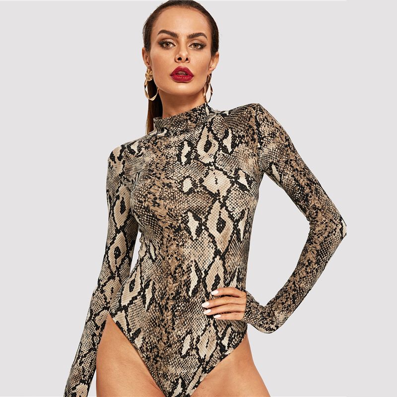 Snake Print, High Neck, Casual Bodysuit, Women's Long Sleeve Bodysuit, Fashion Vintage Bodysuit 14