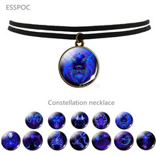 Black Clavicle Necklace Constellation Twelve Zodiac Sing Jewelry  Round Pendant Custom Lover