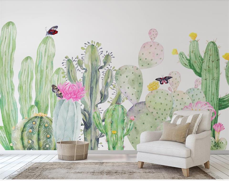 3d wallpaper photo wallpaper custom size mural living room color Cactus plant 3D painting sofa TV background wall sticker murals