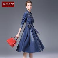 Дамы 2018 Весна летние платья женские новые модные тонкий высокая талия три четверти рукав большой качели пояса платье из джинсовой ткани жен
