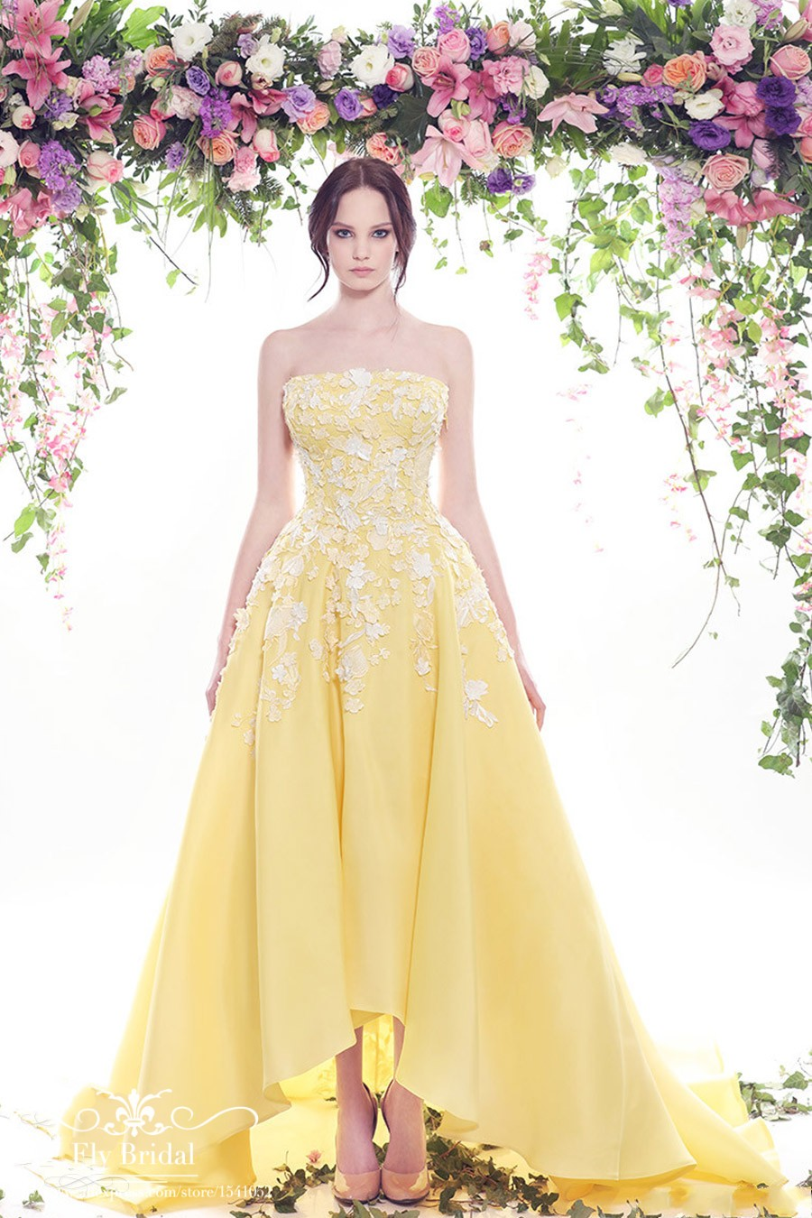 Popular yellow evening gown buy cheap yellow evening gown for Can a yellowed wedding dress be whitened