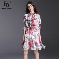 LD 린다 델라 디자이너 활주로 여름 드레스 여성의 절반 소매 활 칼라 벨트 우아한 쉬폰 장미 꽃 인쇄 캐주얼 드레